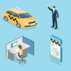 Isometric flat 3D isolated concept vector taxi transport, service.