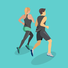 Isometric flat 3D isolated concept people running on the road