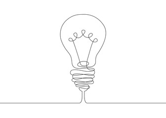 continuous line drawing light bulb symbol idea.