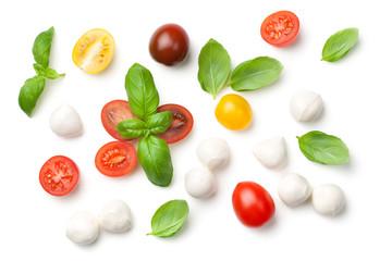Tomatoes, Basil and Mozzarella Isolated on White Background