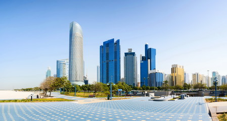 Abu Dhabi panoramic view from the promenade with landmark skyscr
