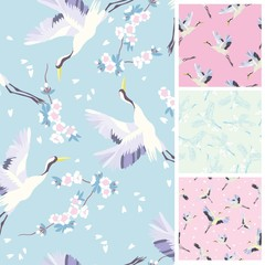 crane, pattern, vector, illustration, set