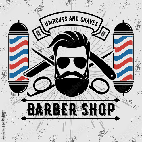 barbershop logo with barber pole in vintage style vector template
