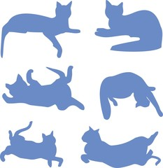 silhouettes of cats blue