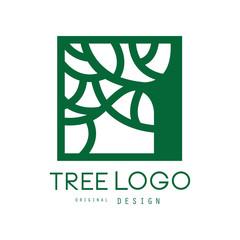 Green tree logo original design, green eco square badge, abstract organic element vector illustration