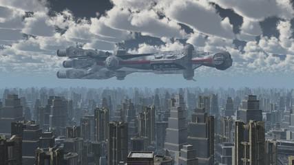 Riesiges Raumschiff über einer Großstadt