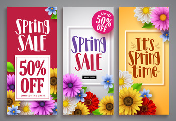 Spring sale vector poster set with colorful background templates, frames and various daisy flowers for spring seasonal discount marketing and background designs. Vector illustration.