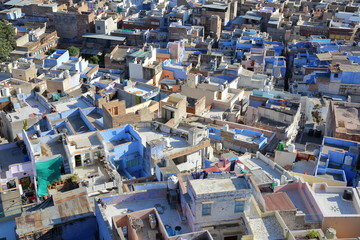 Close-up on the Blue City of Jodhpur (with blue painted houses) in Jodhpur, Rajasthan, India