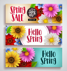 Spring sale and hello spring vector banner set designs with colorful background templates and various daisy flowers for spring season discount promotion and greeting cards. Vector illustration.