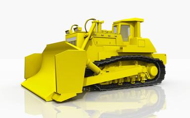 Gelbe Planierraupe vor weißem Hintergrund