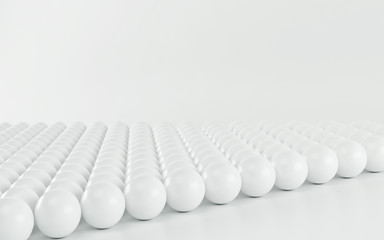 White spheres an arrow on white background. 3d render
