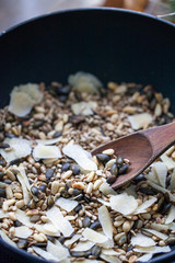 Roasted nuts and seeds with parmesan cheese