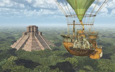 Maya Pyramide und Fantasie Heißluftballon