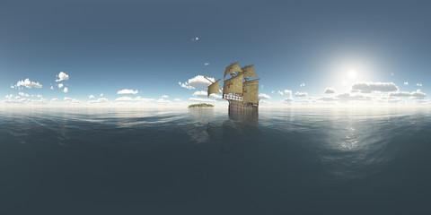 360 Grad Panorama mit Insel und portugiesischer Karavelle aus dem fünfzehnten Jahrhundert