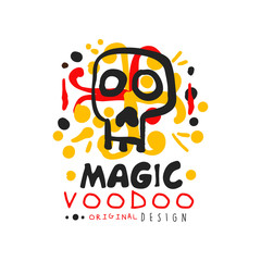 Original Voodoo African and American magic logo or label design with abstract hand drawn mystic skull and decoration. Mystical vector illustration
