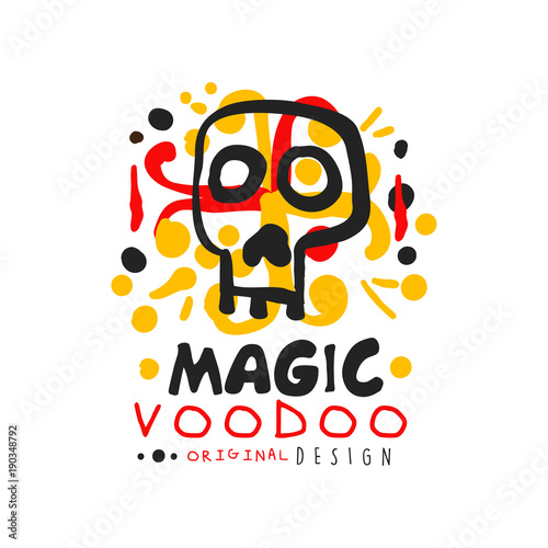 original voodoo african and american magic logo or label design with