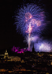 Fireworks at New Year, Edinburgh, Scotland, UK