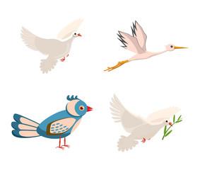 Bird icon set, cartoon style