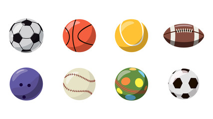Balls icon set, cartoon style