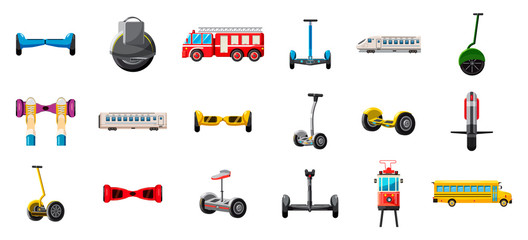 City transport icon set, cartoon style