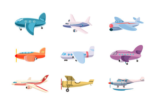 Airplane icon set, cartoon style