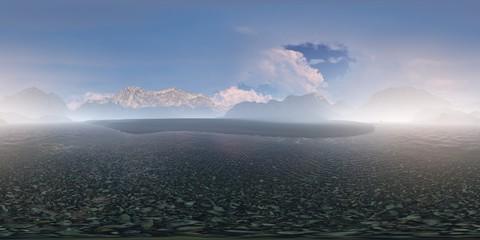 Panorama 360° con montagne e oceano