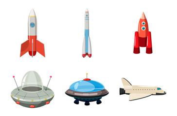 Spaceship icon set, cartoon style