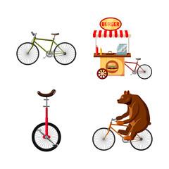 Bike icon set, cartoon style
