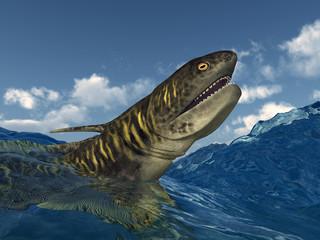 Prähistorischer Hai Orthacanthus in stürmischer See