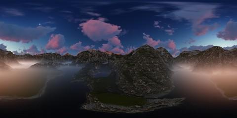 Panorama 360° con tramonto rosa su lago in montagna