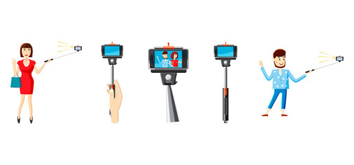Selfie stick icon set, cartoon style