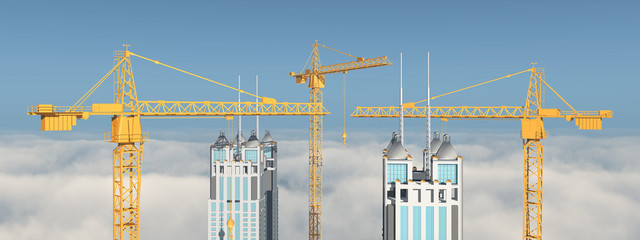 Baukräne und Gebäude über den Wolken