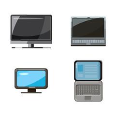 Pc and laptop icon set, cartoon style