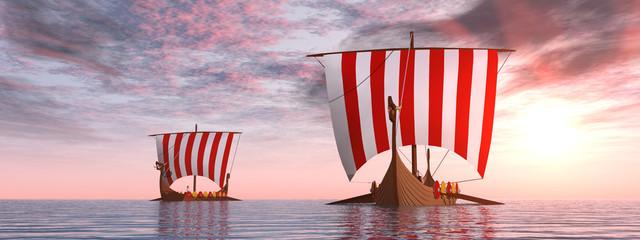 Wikingerschiffe bei Sonnenaufgang