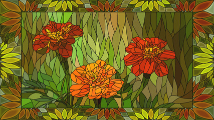 Vector illustration of mosaic orange marigold.