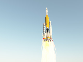 Trägerrakete in der Startphase