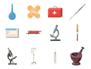 Medical tools icon set, cartoon style