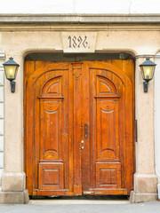 Ancient carved wooden door in the Oslo, Norway