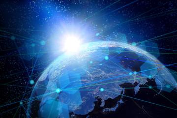 地球とネットワークイメージ背景