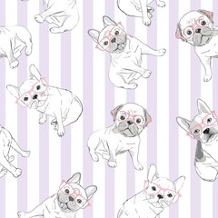 Character design pattern background of head bulldog.Doodle style on green blue.