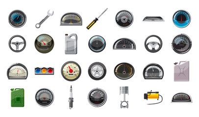 Car parts icon set, cartoon style