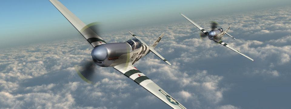Amerikanische Jagdflugzeuge aus dem Zweiten Weltkrieg über den Wolken