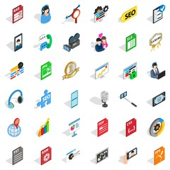 Variety of press icons set, isometric style