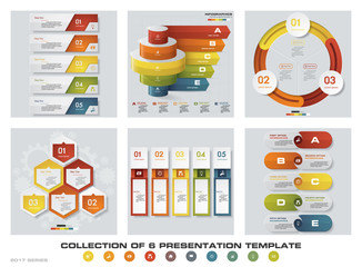 Collection of 6 design colorful presentation templates. EPS10. Set of infographics design vector and business icons.