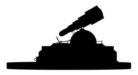 Silhouette eines astronomischen Observatoriums