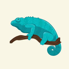 Blue chameleon on branch. Vector illustration with tropical lizard