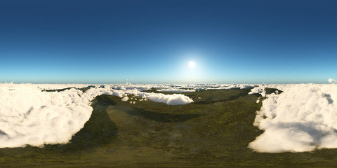 360 Grad Panorama mit einer Ansicht über den Wolken
