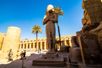 January 2018 - Luxor, Egypt. Statue in the temple of Karnak in Luxor Egypt