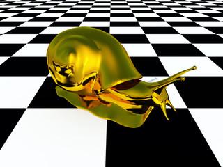 Goldene Schnecke auf einem Schachbrettmuster