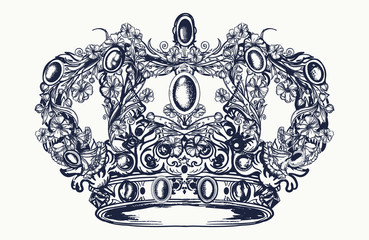 Crown tattoo and t-shirt design. Royal imperial crown from art nouveau flowers tattoo and t-shirt design